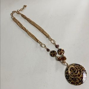 Animal print shell 18 inch necklace